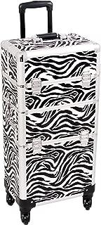 (Zebra) - SUNRISE Makeup Case on Wheels 2 in 1 Professional Organiser I3461, 6 Trays, 4 Wheel Spinner, Adjustable Drawer Dividers, White Zebra