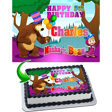 Masha and The Bear Premium Frosting Sheet Cake Topper w//Pers.