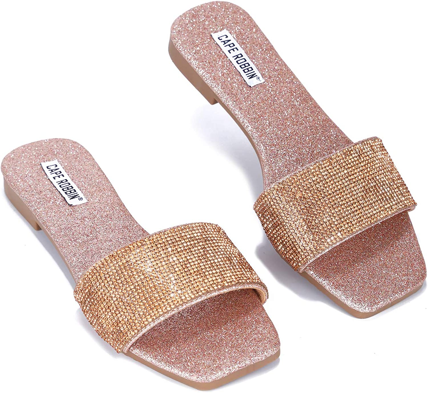 Cape Robbin Zala Flat Sandals Slides for Women, Studded Womens Mules Slip On Shoes with Faux Rhinestones