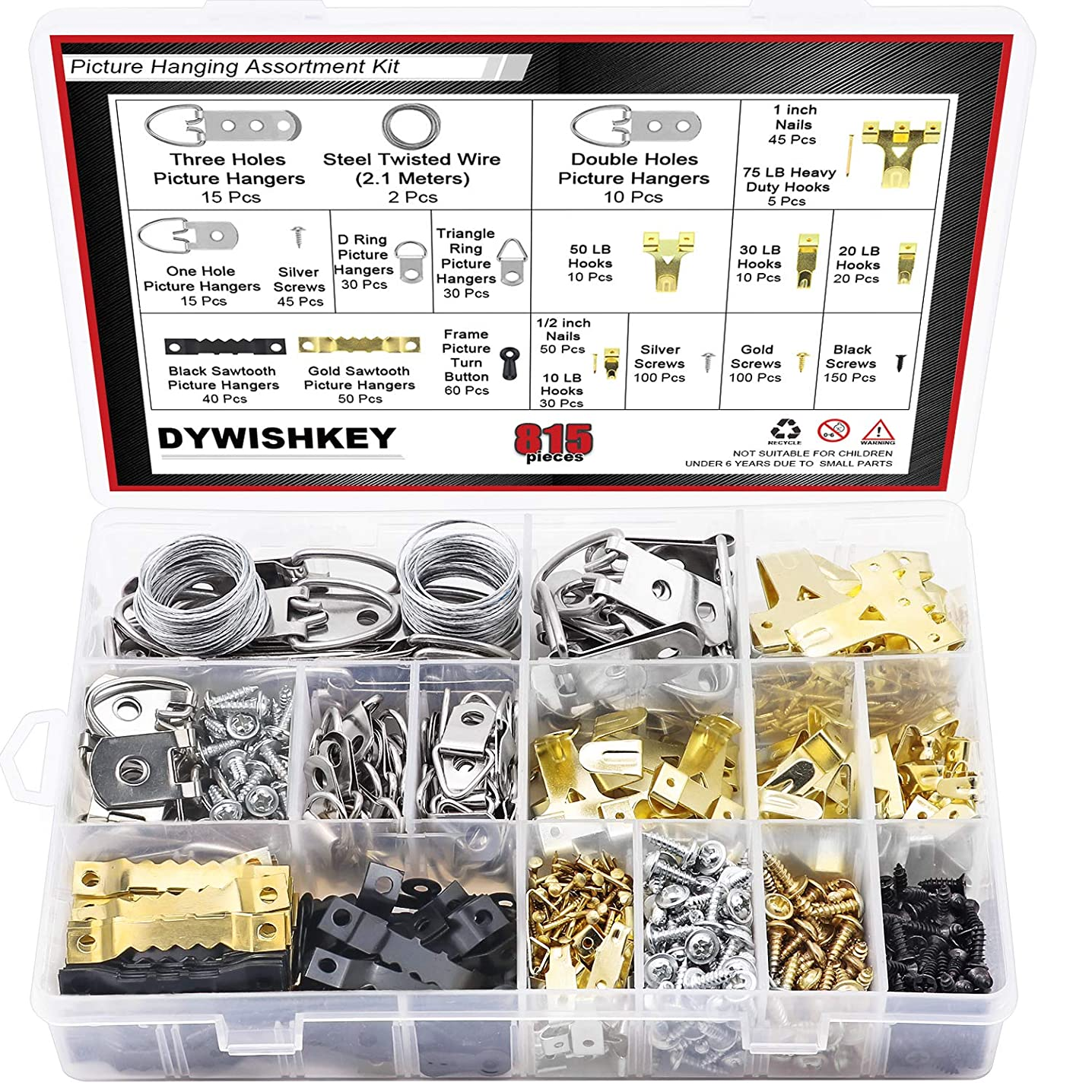 DYWISHKEY Picture Hanging Kit, 815 PCS Heavy Duty Assorted Picture Hangers Hooks Nails and Screws, Picture Hangers Assortment Kit for Wall Mounting
