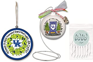Woodhaven Wares College Ornaments Set with Display Stand and Hooks, UK Christmas Ornaments