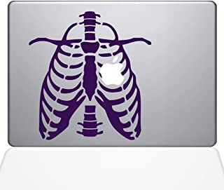 "The Decal Guru 1043-MAC-11A-BLA Ribcage Apple Heart MacBook Decal Vinyl Sticker - 13"" MacBook Pro (2016 & Newer) - Lavender"