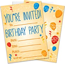 Party Invitations for Boys, Girls, Kids   25 Invite Cards with Envelopes   Birthday Party Supplies