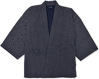 【日本製】 刺子織 作務衣式綿入れ袢天 【和粋庵】 和粋庵特製巾着付き