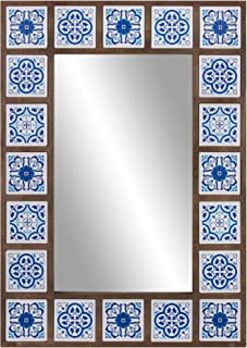 Patton Wall Decor 28x38 Indigo Moroccan Tile Framed Wall Mounted Mirrors, Blue