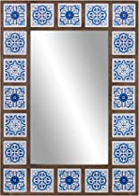 Patton Wall Decor 28×38 Indigo Moroccan Tile Framed Wall Mounted Mirrors, Blue