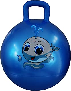 AppleRound Space Hopper Ball: Blue, 18in/45cm Diameter for Ages 3-6, Pump Included (Hop Ball, Kangaroo Bouncer, Hoppity Hop, Sit and Bounce, Jumping Ball)