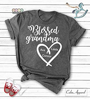 dc6e1288f Blessed Grandma Shirt, Personalized Grandma Gift from Grand Kids, Custom Tee  for Grandmother,