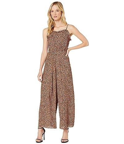 CeCe Sleeveless Ruffled Leopard Cluster Jumpsuit (Spicewood) Women