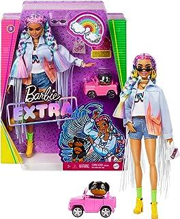 Barbie Extra poupée articulée aux cheveux multicolores, look tendance et oversize, avec figurine animale et accessoires in...