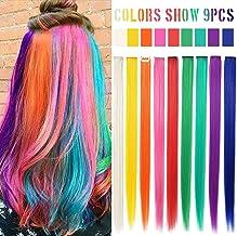Accesorios para el cabello con arco iris Muñequera con clip Multicolor Destacados Extensiones de color recto para niñas y muñecas americanas Peluca Piezas de cabello multicolor (Color del arco iris)