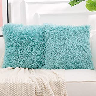 """Best NordECO HOME Luxury Soft Faux Fur Fleece Cushion Cover Pillowcase Decorative Throw Pillows Covers, No Pillow Insert, 18"""" x 18"""" Inch, Teal Green, 2 Pack Review"""