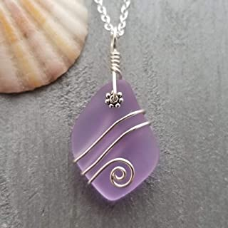 """product image for Handmade in Hawaii,""""Magical Color Changing"""" purple wire wrapped sea glass necklace,""""February Birthstone"""", (Hawaii Gift Wrapped"""