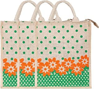 Heart Home Jute 3 Pieces Lunch Carry Bag (Green)- CTHH21873