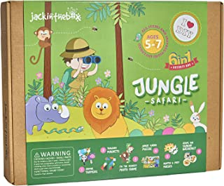 jackinthebox Jungle Themed Art and Craft Kit for Kids | 6 Crafts-in-1 | Great Gift for Boys and Girls Ages 5-7 Years | Includes Felt and Foam Activities | Learning Stem Toy (6-in-1)