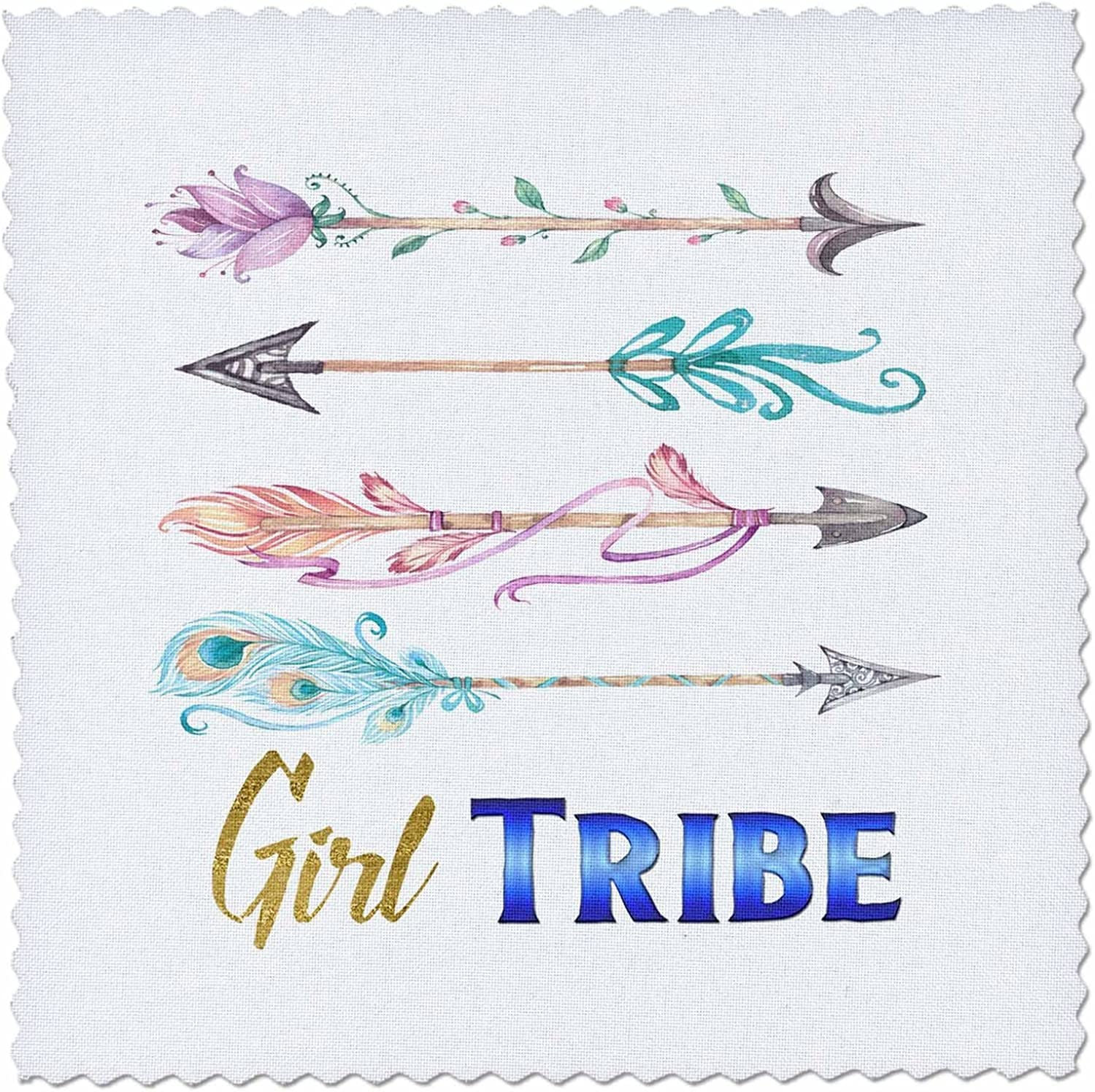 3D pink Pretty Watercolor Tribal Arrows with Girl Tribe Quilt Square 14 by 14 Inch, 14 x 14