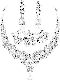 ست جواهرات عروس کریستال LOYALLOOK برای گوشواره گردنبند Rhinestone گوشواره دستبند عروس عروس عروس با لباس عروسی متناسب است