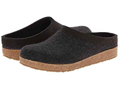 Haflinger GZL Leather Trim Grizzly (Charcoal) Clog Shoes