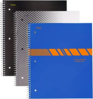 """Pack of 3 Five Star Spiral Notebook, 1 Subject, College Ruled Paper, 100 Sheets, 11"""" x 8-1/2"""", Assorted Graphics Bundle"""