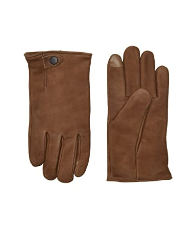 UGG Tabbed Splice Vent Leather Tech Gloves with Sherpa Lining (Chocolate) Extreme Cold Weather Gloves