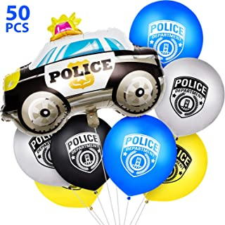Gejoy 50 Pieces Police Party Balloon Set Police Car Balloons Police Latex Balloons for Police Themed Birthday Party Decoration