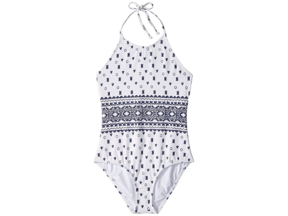 7963167375a70 Splendid Littles Boarder Stripe High Neck One-Piece (Big Kid) (White) Girl s  Swimsuits One Piece