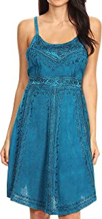 Markay Short Mid Length Spaghetti Strap Sleeveless Embroidered Batik Dress
