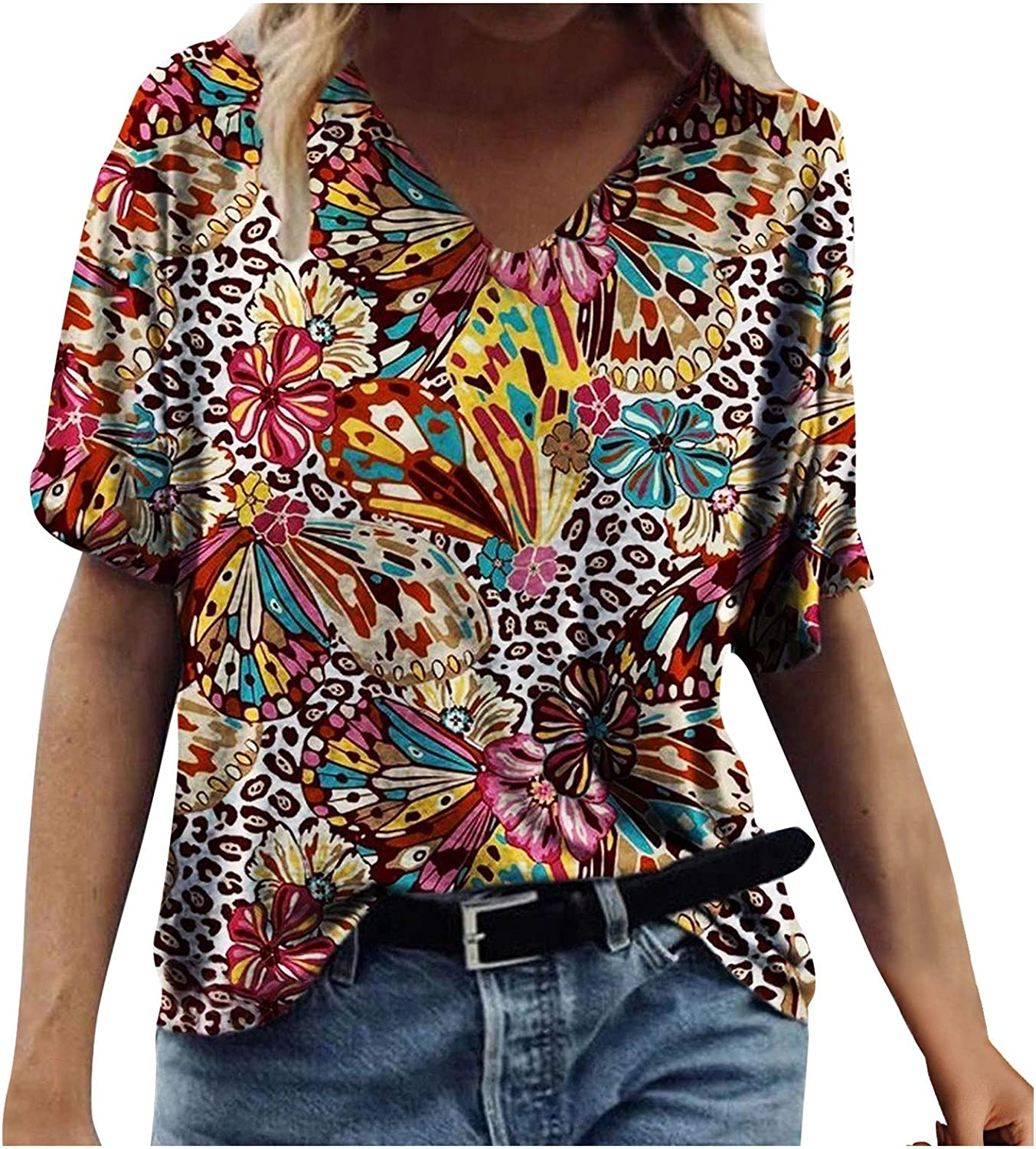 Women's Summer Max 77% OFF Fashion Casual Loose Fit Neck P V Flower Super beauty product restock quality top Colorful
