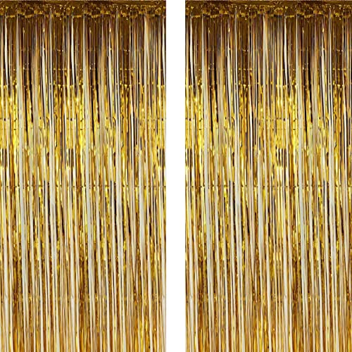 high quality Twinkle discount Star 2 Pack Photo Booth Backdrop Metallic Tinsel discount Foil Fringe Curtains Environmental Background for Birthday Wedding Party Christmas Decorations (Gold) sale