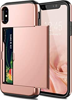 iPhone X Case,Hybrid iPhone X Wallet Case With Card Holder, Shell Heavy Duty Protection, Soft Rubber Bumper Cover Case (Ro...