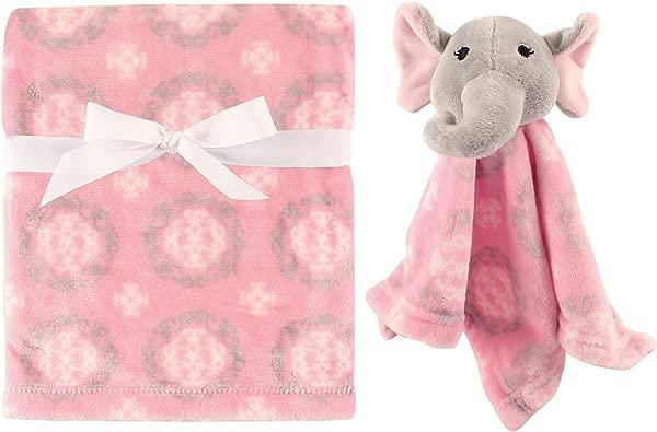 Hudson Baby Unisex Baby Plush Blanket With Security Blanket Girly Elephant 2 Piece One Size