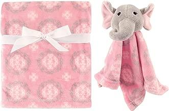 Hudson Baby Unisex Baby Plush Blanket with Security Blanket, Girly Elephant 2 Piece, One Size