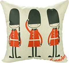 Luxbon - Lovely British Royal Guards Love London Cotton Linen Throw Pillow Case Cushion Cover 18 x 18/45X45CM Insert Not Included