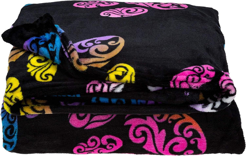 High quality Max 60% OFF GreaterGood Super Cozy Fleece Paw Bedding King Rainbow Swirl