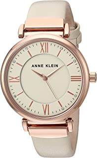 Anne Klein Women's AK/2666RGIV Swarovski Crystal Accented Rose Gold-Tone and Ivory Leather Strap Watch