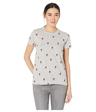 Lucky Brand All Over Embroidered Tee (Heather Grey) Women
