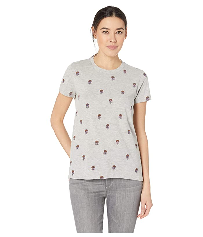 Lucky Brand  All Over Embroidered Tee (Heather Grey) Womens T Shirt