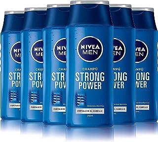 NIVEA MEN Strong Power Champú para hombre para dar volumen y fortalecer el cabello reparador - pack de 6 x 250 ml