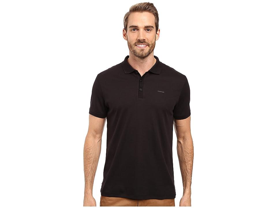 Calvin Klein Liquid Cotton Solid Short Sleeve Polo (Black) Men