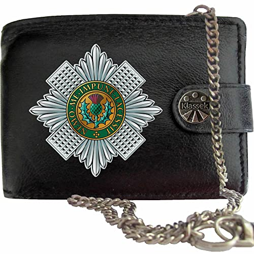 Scots Guards image on KLASSEK Brand Men Leather Chain Wallet with Clasp Cap Badge Emblem Military Crest Insignia with Metal Box