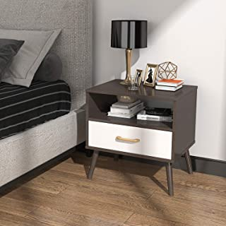 Lifewit Nightstand with 1 Fabric Drawer, Bedside Table Bedroom Side Table, Partical Board and Carbon Steel Legs, Easy Assembly and Sturdy, Brown
