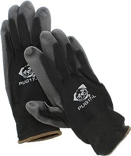 Global Pug Work Glove PUG17L Polyurethane/Nylon Glove, Work, Large, Black, (12 Pair)