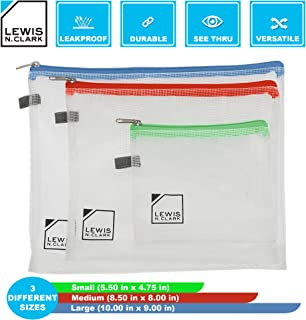 Lewis N. Clark Toiletry Kit, Makeup Bag, Shower Caddy + Travel Organizer Set for Luggage, Carry-on or Suitcase, 3 Pack (S, M, L), Clear
