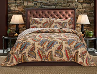 Simiao Bohemian 100% Cotton Reversible Quilt Set 3 Pieces Colorful Leaf Pattern Bedspread Set - Lightweight Bedding Coverlet Set for All Season, Queen Size (90