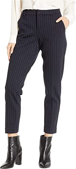 Petite Kelsey Slim Leg Trousers in Wide Stripe Ponte Knit Navy