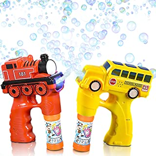 ArtCreativity Bus and Train Bubble Blaster Gun Set with Exciting LED and Sound Effects, Includes Train and Bus Bubble Blower with 4 Bottles of Solution - Batteries Included - Great Gift for Kids