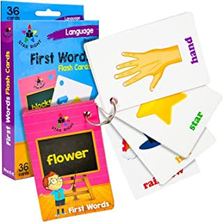 Star Right First Words Flash Cards with Realistic Art, 36 Cards, with 1 Ring, for Ages Pre-K & K