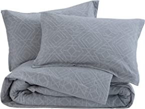 meadow park Matelasse Duvet Cover Set, 100% Cotton, Pre-Washed, Soft & Cozy, Woven Jacquard Textured, Modern Geo Design Bedding Set, King, Grey
