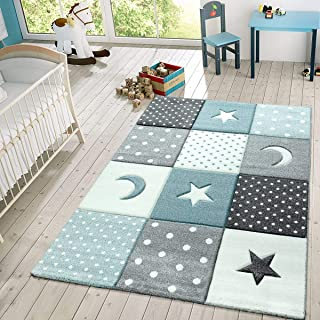 comprar comparacion TT Home Alfombra Infantil Juego Cuadros Estrellas Luna Pastel Turquesa Blanco Gris, Größe:80x150 cm