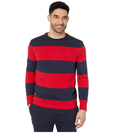 Tommy Hilfiger Adaptive Long Sleeve T Shirt with Magnetic Buttons at Shoulders (Apple Red/Sky Captain) Men